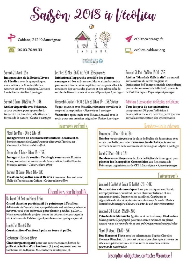 Programme des activités 2018 de l'Ecolieu de Cablanc